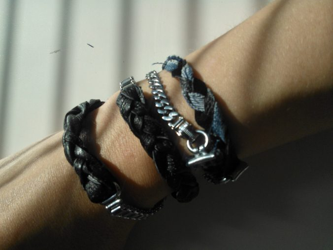 diy leather and denim bracelets