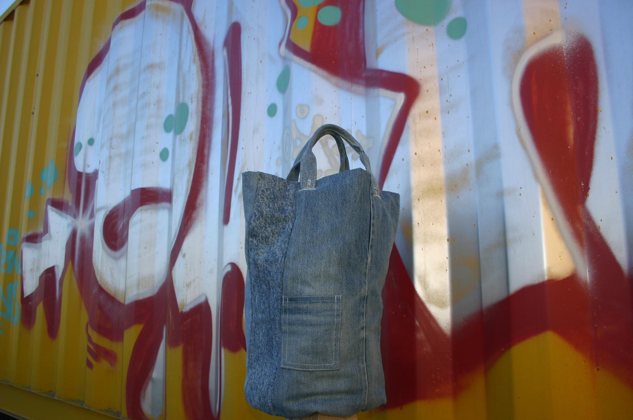 diy denim round bag with removable handles