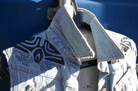 diy denim vest with painted maori tattoo
