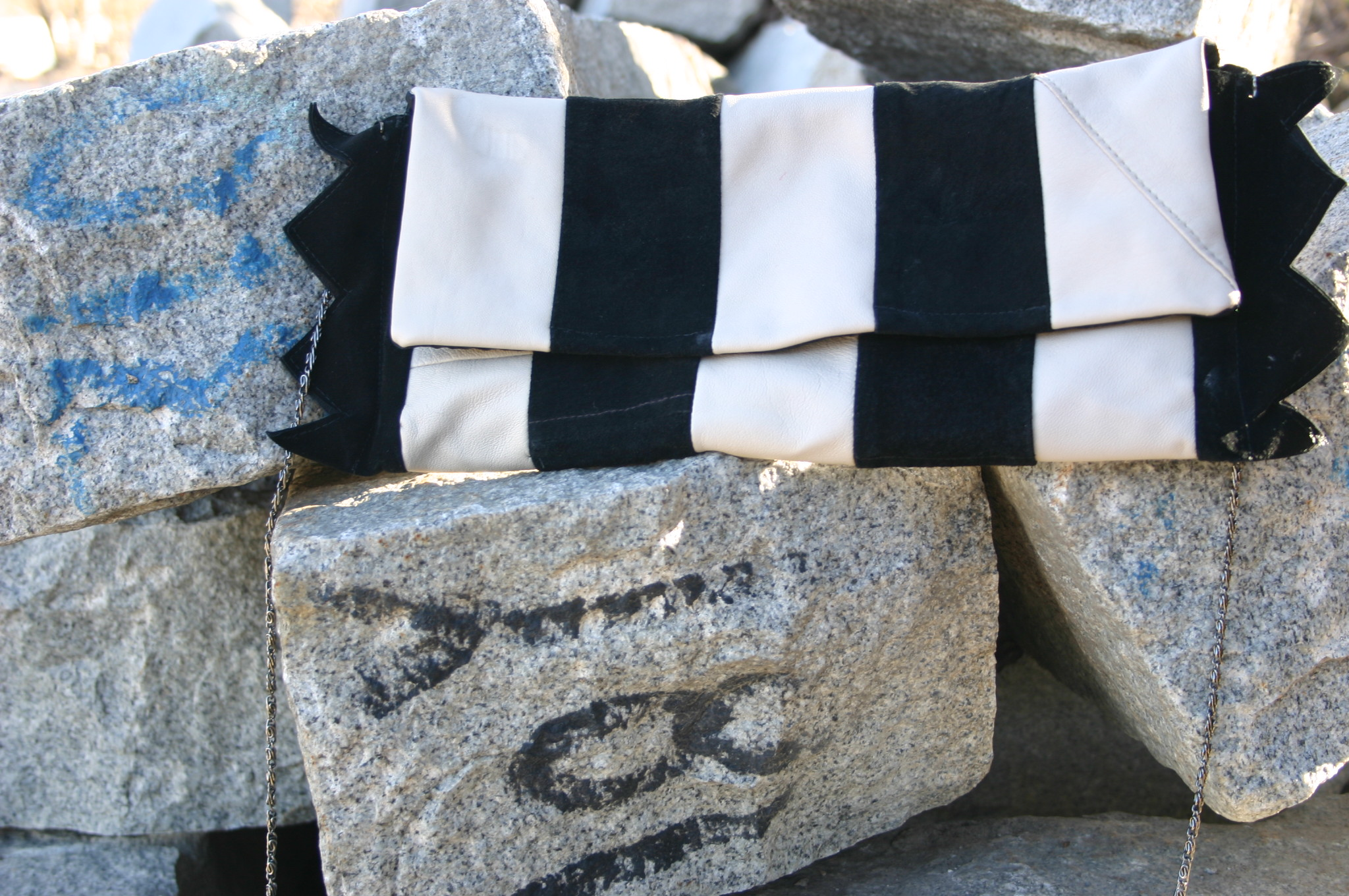 diy striped leather and suede clutch made out of old trousers
