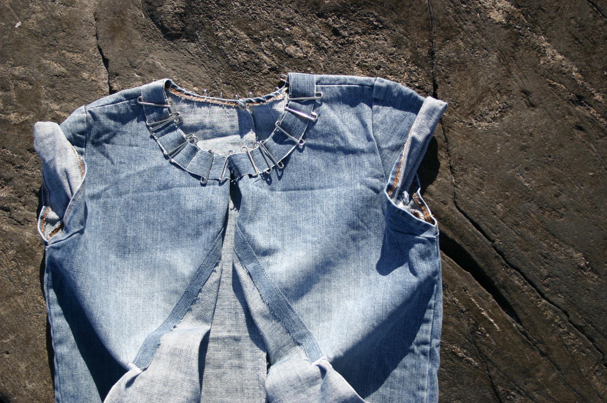 diy-remake denim shirt with metal details and pockets