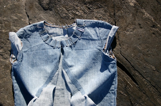 diy-remake denim shirt with metal details and pockets