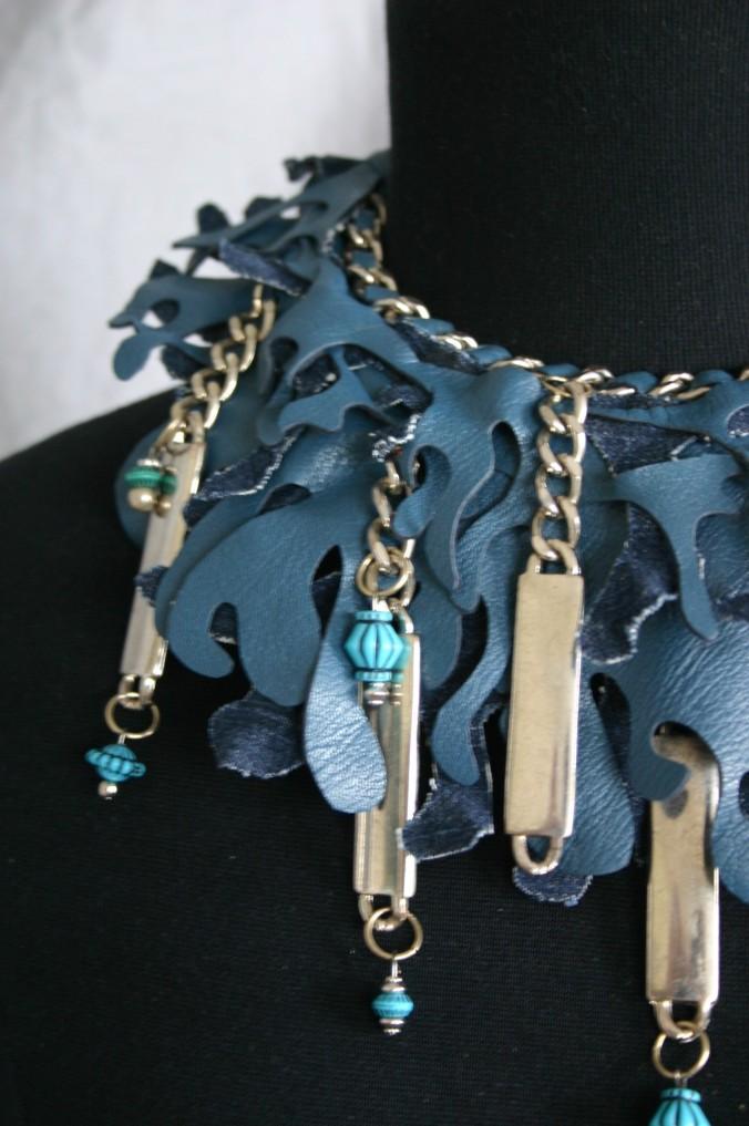 diy leather and denim neckpiece