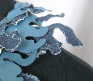 leather and denim neckpiece