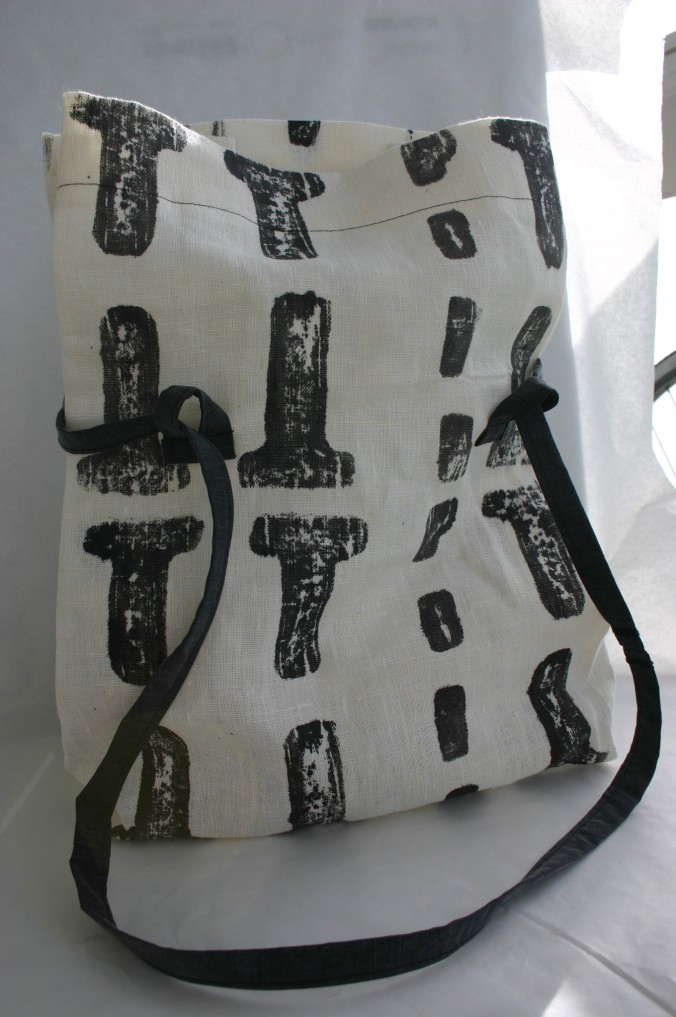 diy linen bag stamped with IKEA packing material