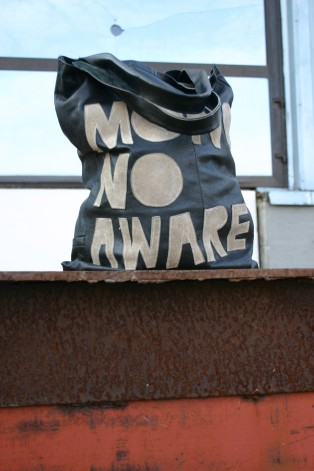 mono no aware bag with suede letters