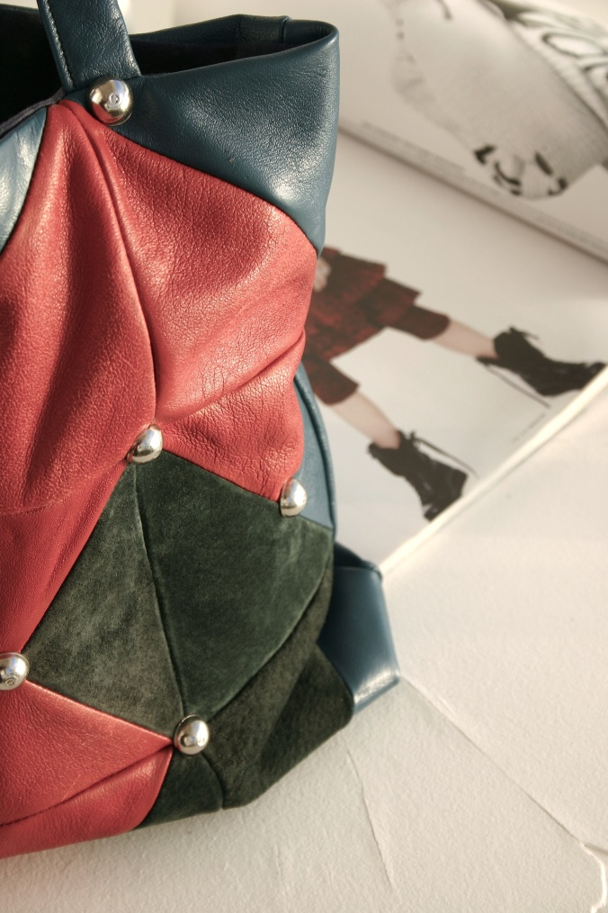 leather quilt bag and studs