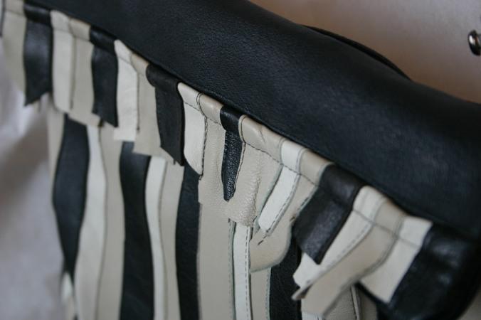 leather stripes bag