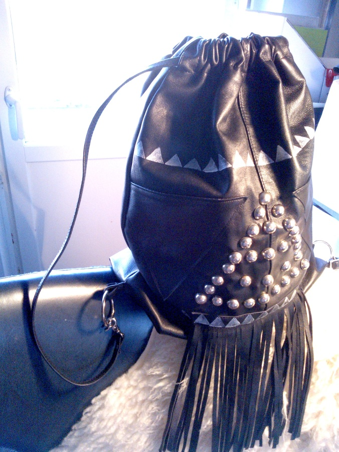 diy black leather back bag with studs and fringes