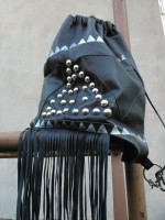 diy leather silver stud back bag with fringes