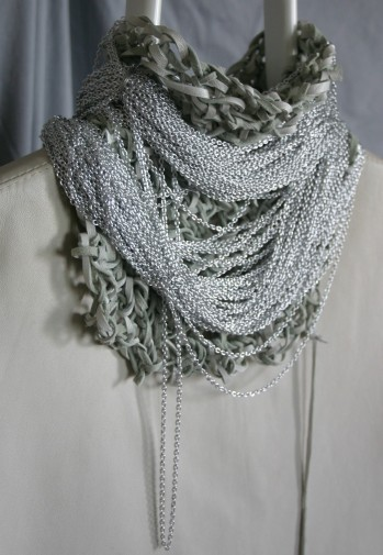 diy crocheted white leather and silver colored chain neckpiece