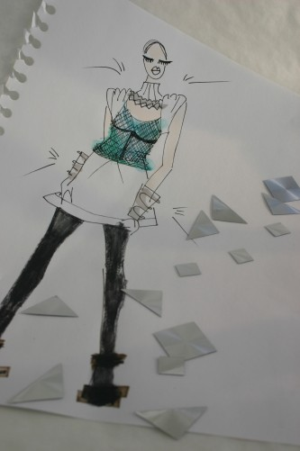 fashion drawing for Intercoiffure Finland photoshoot by Susanoo