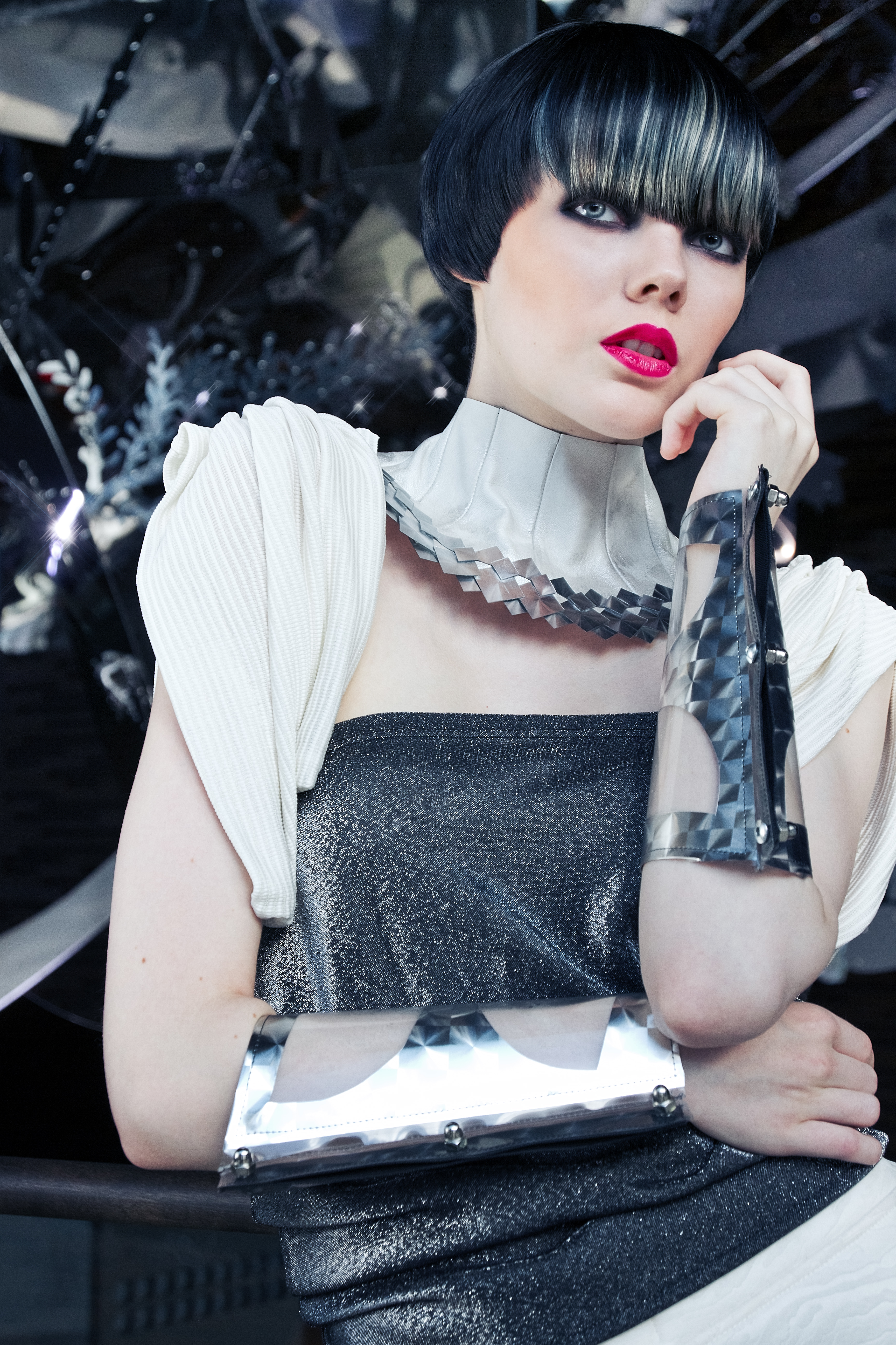 photoshoot Intercoiffure Finland style Northern Lights, styling and acc. Susanoo