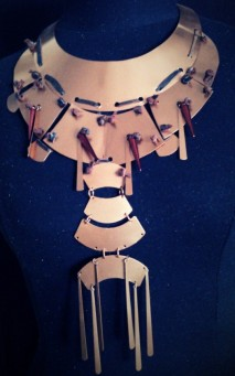 diy neckpiece copper colored metal and leather