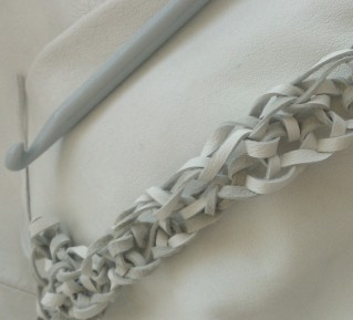 crocheting leather cut from old jacket