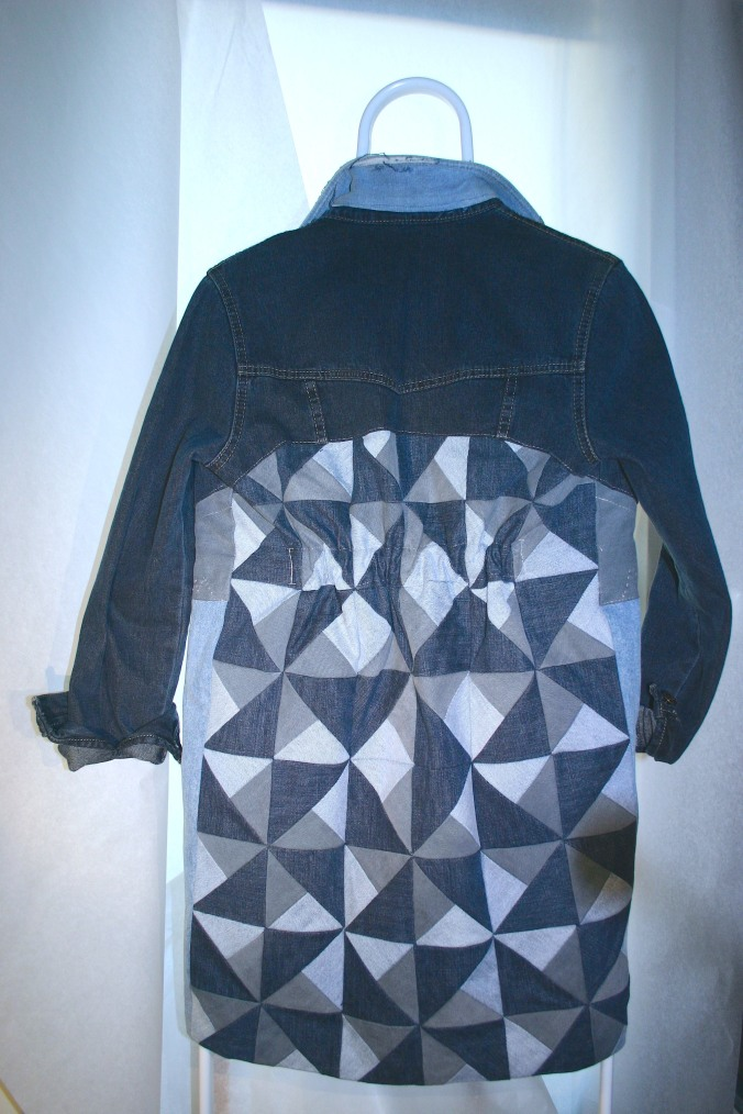 denim quilt long jacket