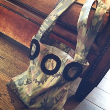 camo bag with suede deco