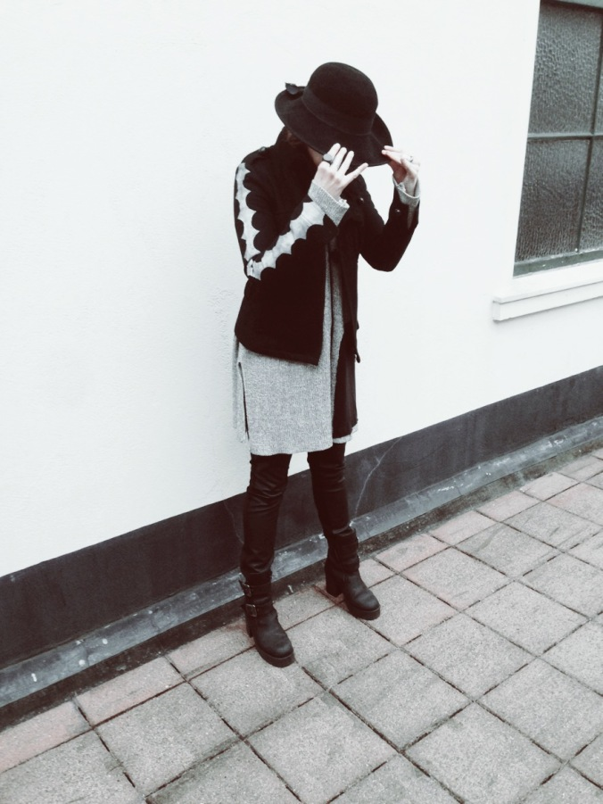 Susanna wearing her diy woolen jacket with Anne Linnonmaa vintage cardigan and woolen vintage hat