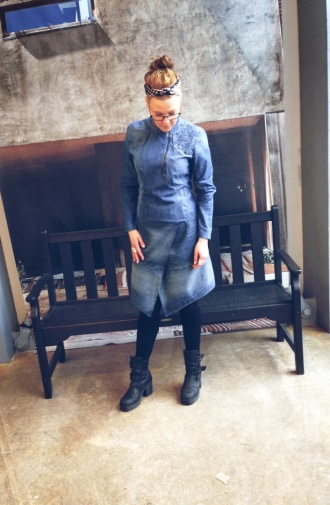 Susanna wearing recycled denim dress
