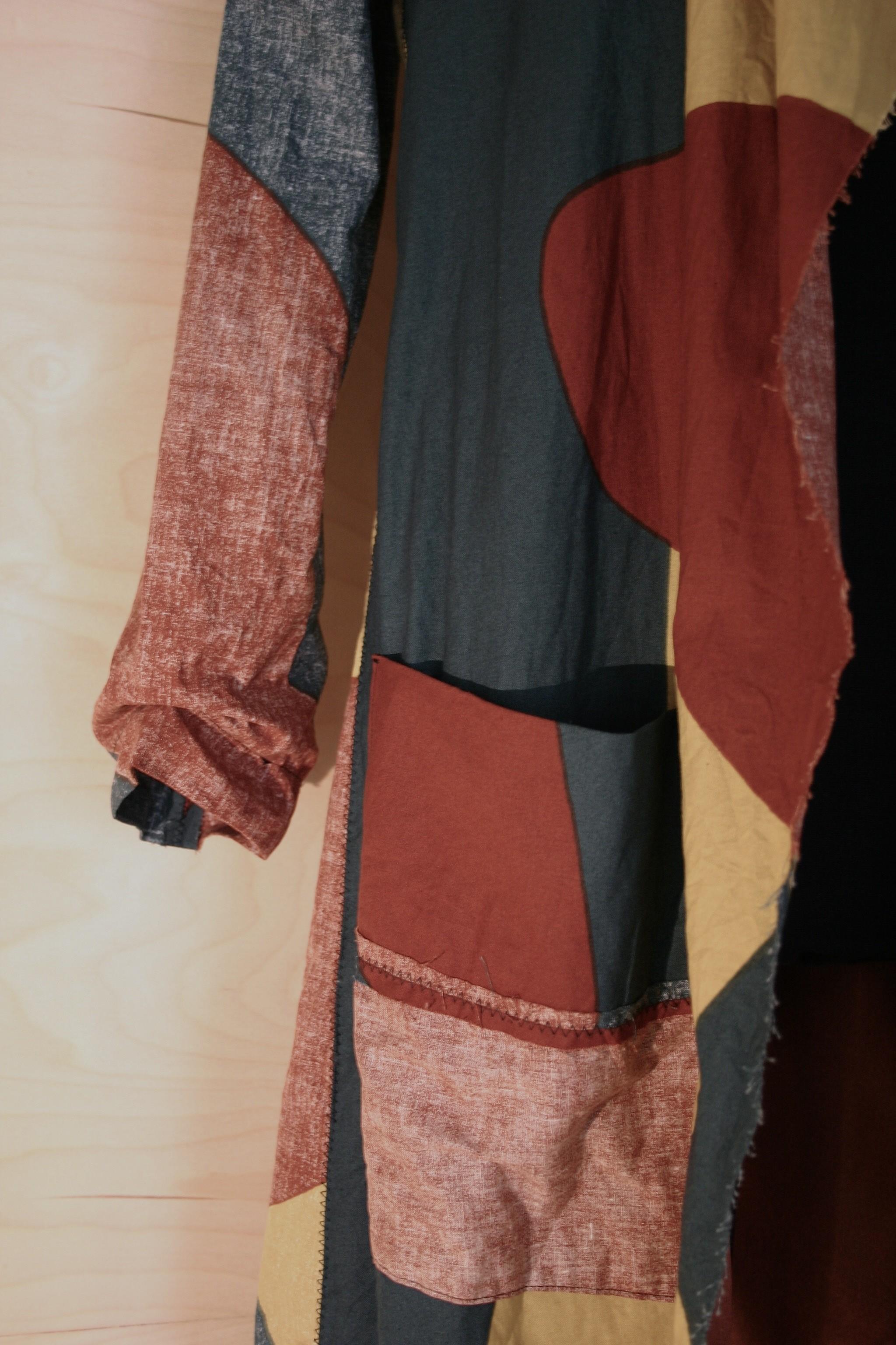 """Marimekko fabric """"Cactus"""" jacket- raw edges and fabric turned inside out"""