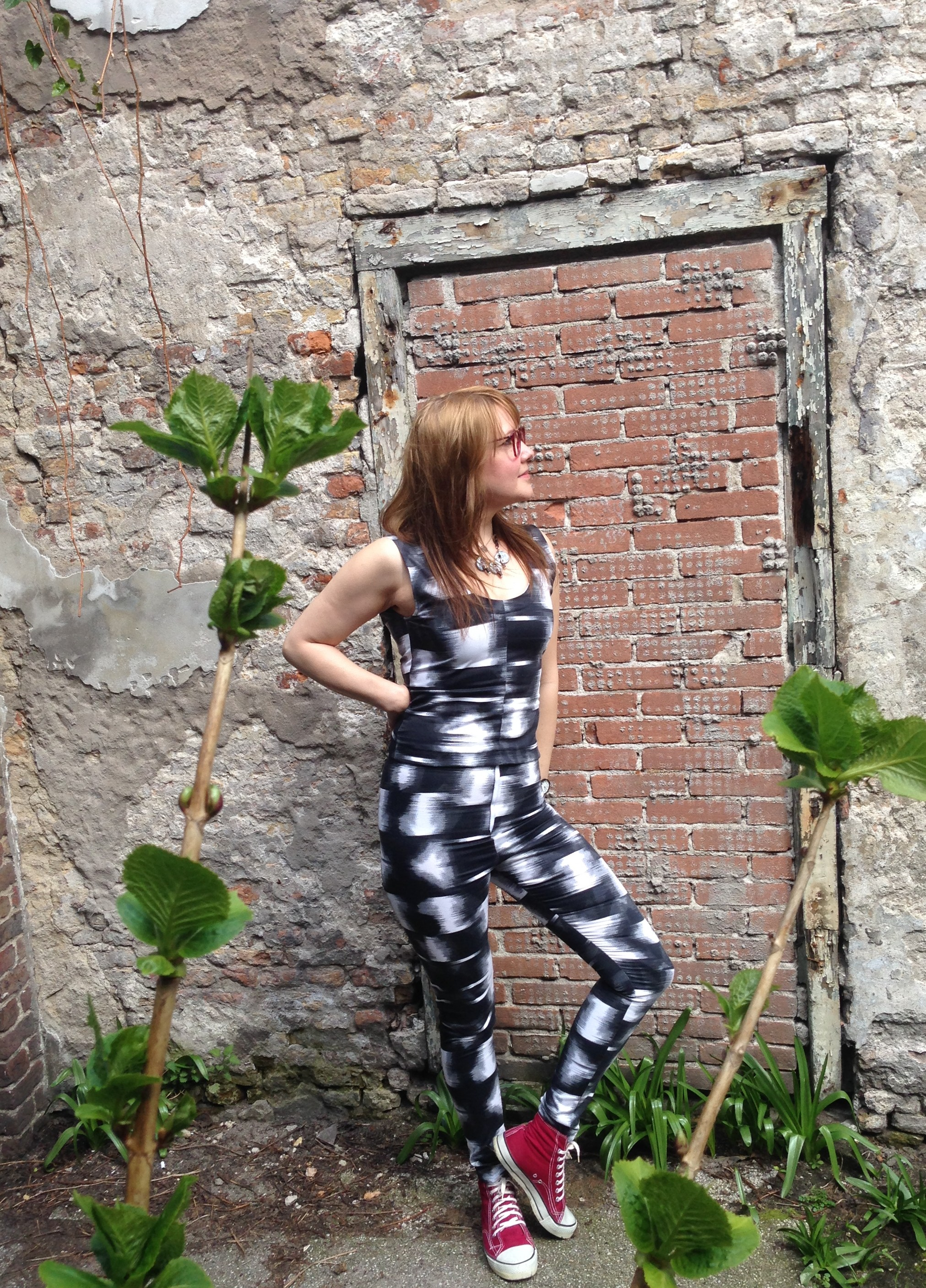 Susanna wearing self made top and trousers