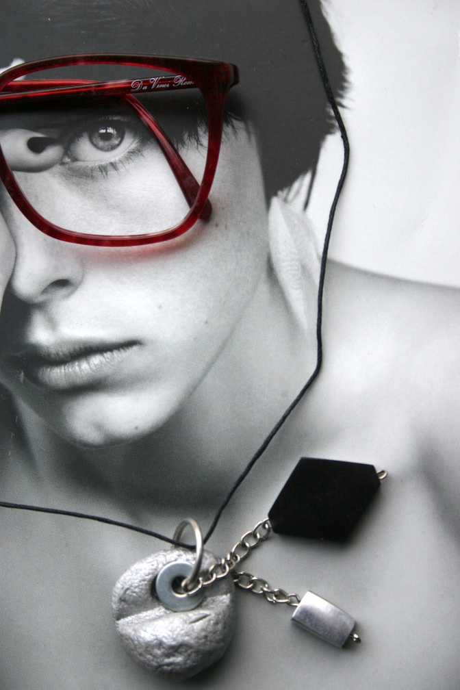 diy clay pendant with black plastic and silver_red eyeglasses vintage