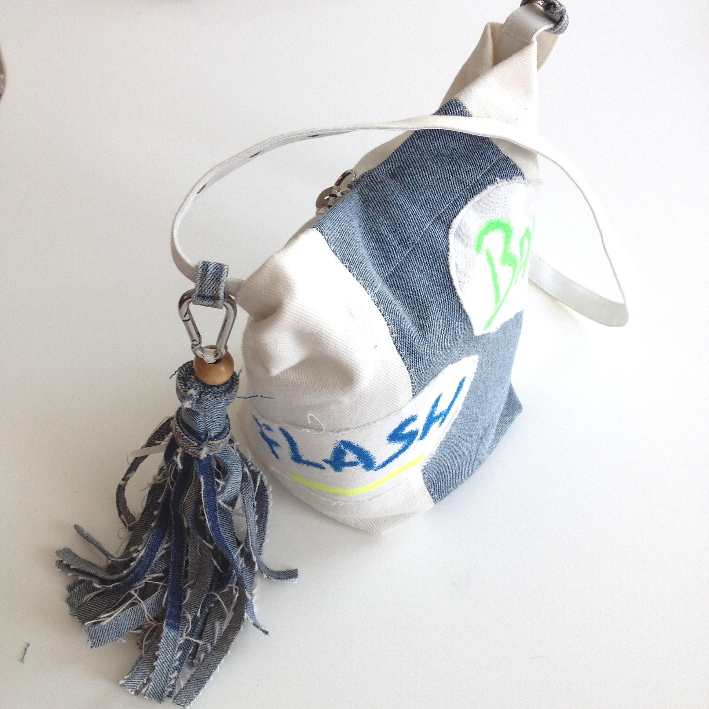 diy camera bag out of 90`s print fabric and denim tassel