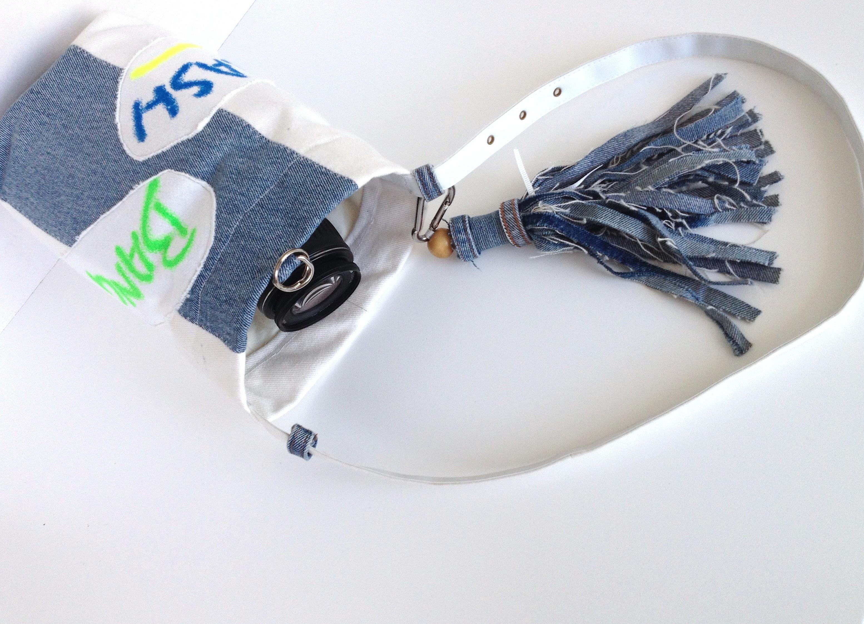 diy camera bag out of 90´s print fabric and denim tassel