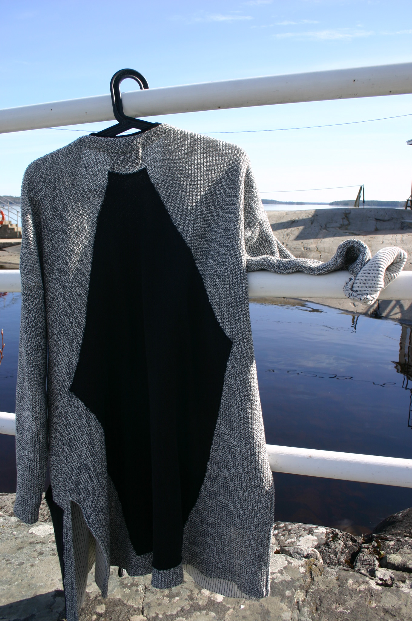 Finnish designer Anne Linnonmaa long cardigan with diy black back part