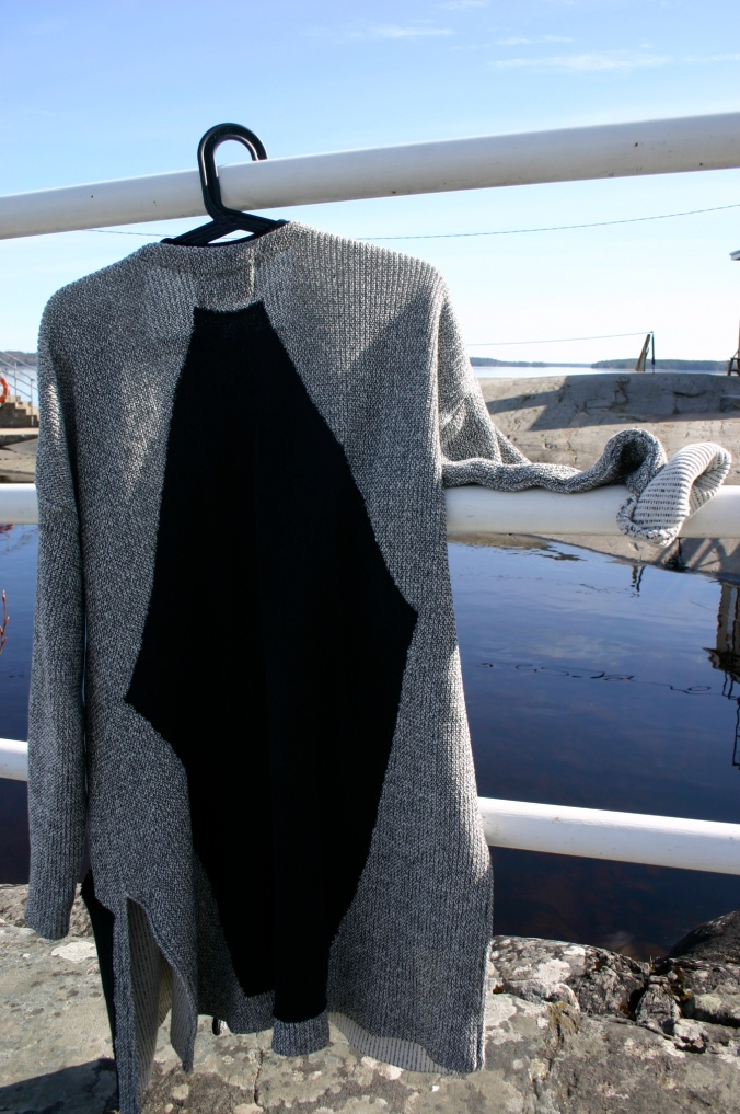 Finnish designer Anne Linnonmaa long cardigan with diy black back part
