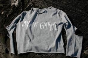diy free hand lettering on grey jumper