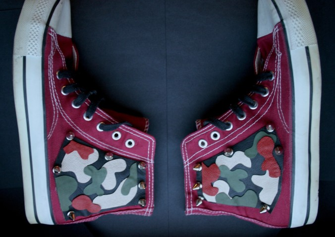 diy camo sneakers with shape cut leather decorations