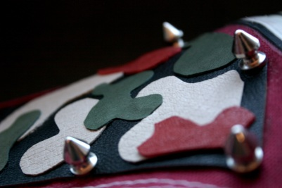 diy camo sneakers with shape cut leather and studs