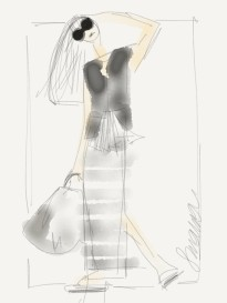Susanoo fashion drawing striped skirt and silk blouse