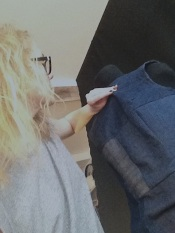 Susanna doing a photoshoot of her denim diy`s
