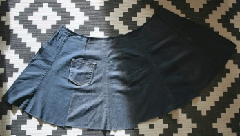 diy denim wrap skirt made out of old jeans