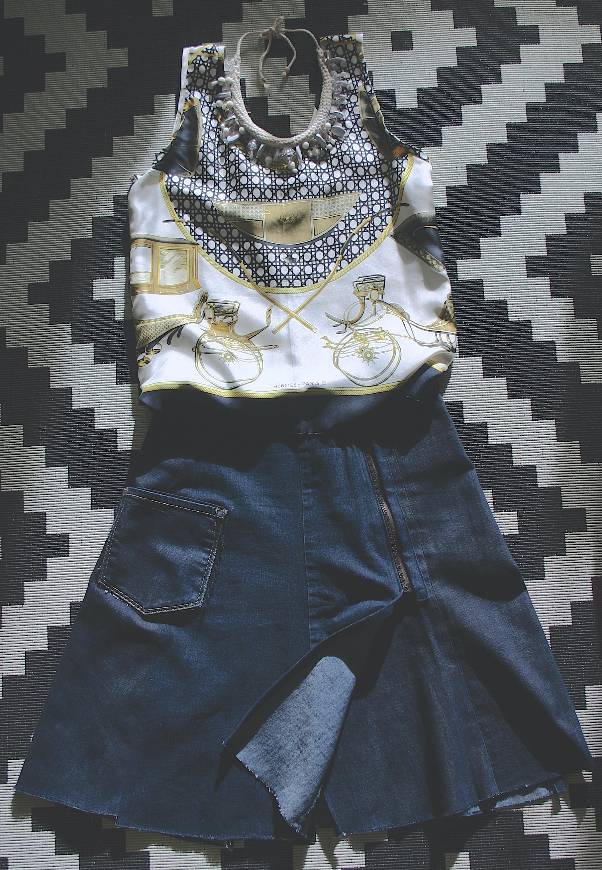 diy Hermès scarf top and denim wrap skirt with zipper