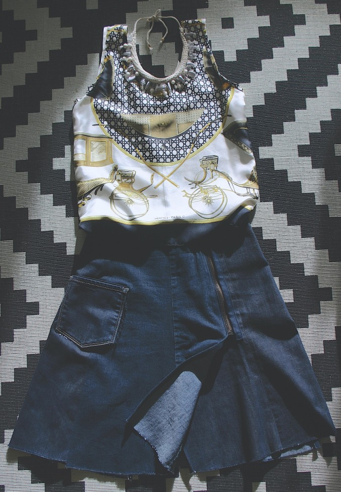 diy Hermès scarf top and denim wrap skirt with zipper