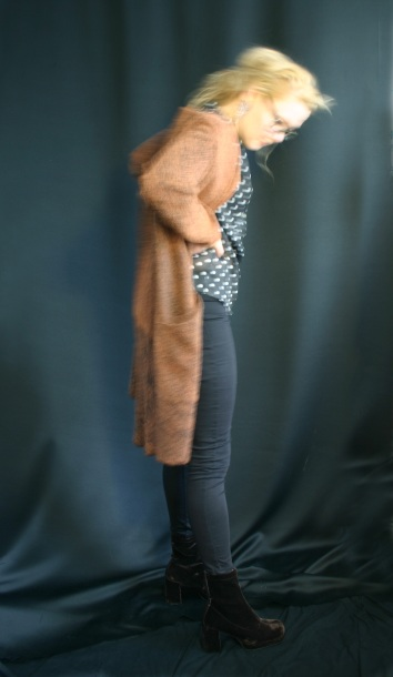 Susanna with remake long cardigan from second hand twin se