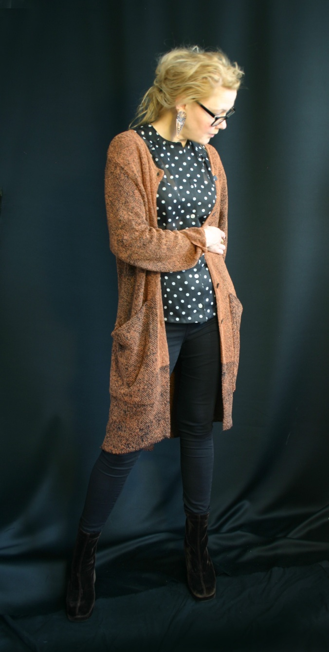 Susanna with remake long cardigan from second hand twin set