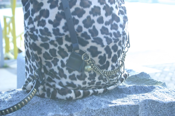 diy animal print back bag with recycled decorations