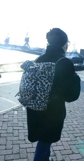 Susanna with her diy animal print back bag