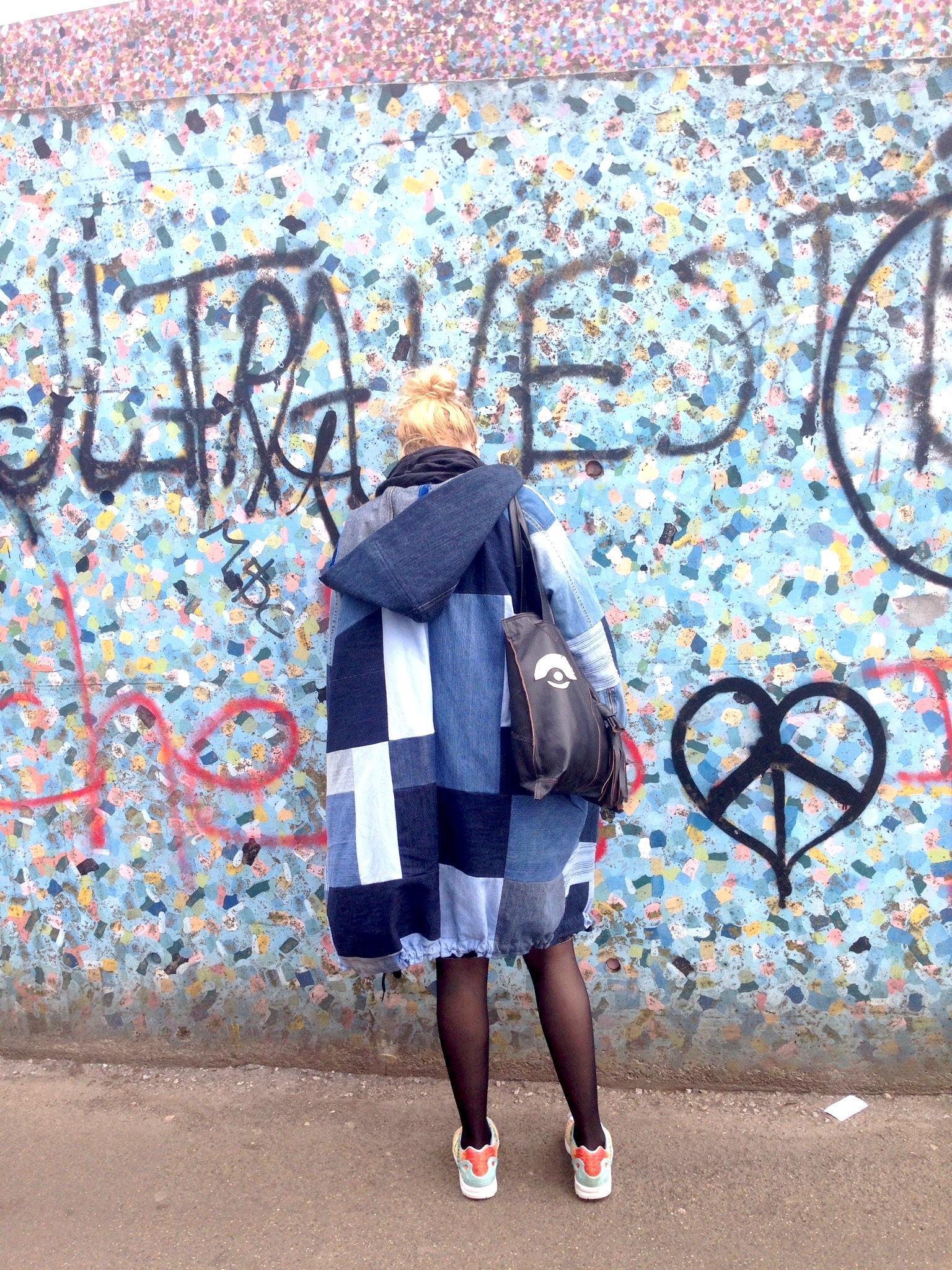 Susanna in her diy denim quilt jacket and diy leather bag