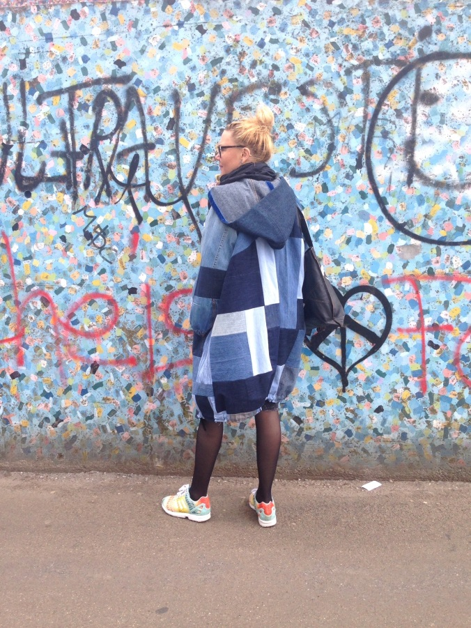 Susanna in her diy denim quilt jacket