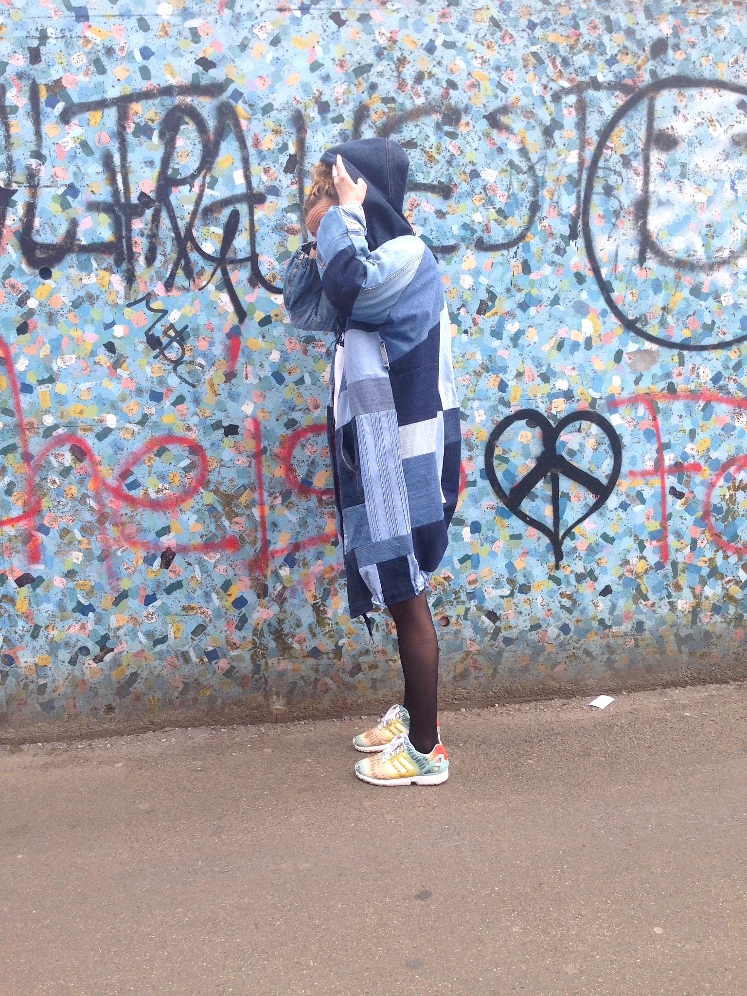Susanna in her diy denim quilt jacket