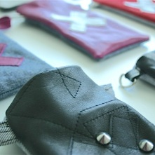 diy leather pouch with studs