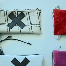diy pouches with stamped patterns and swiss cross