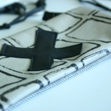 diy pouch with stamped pattern and swiss cross