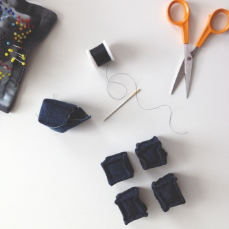 diy miniature denim cubes