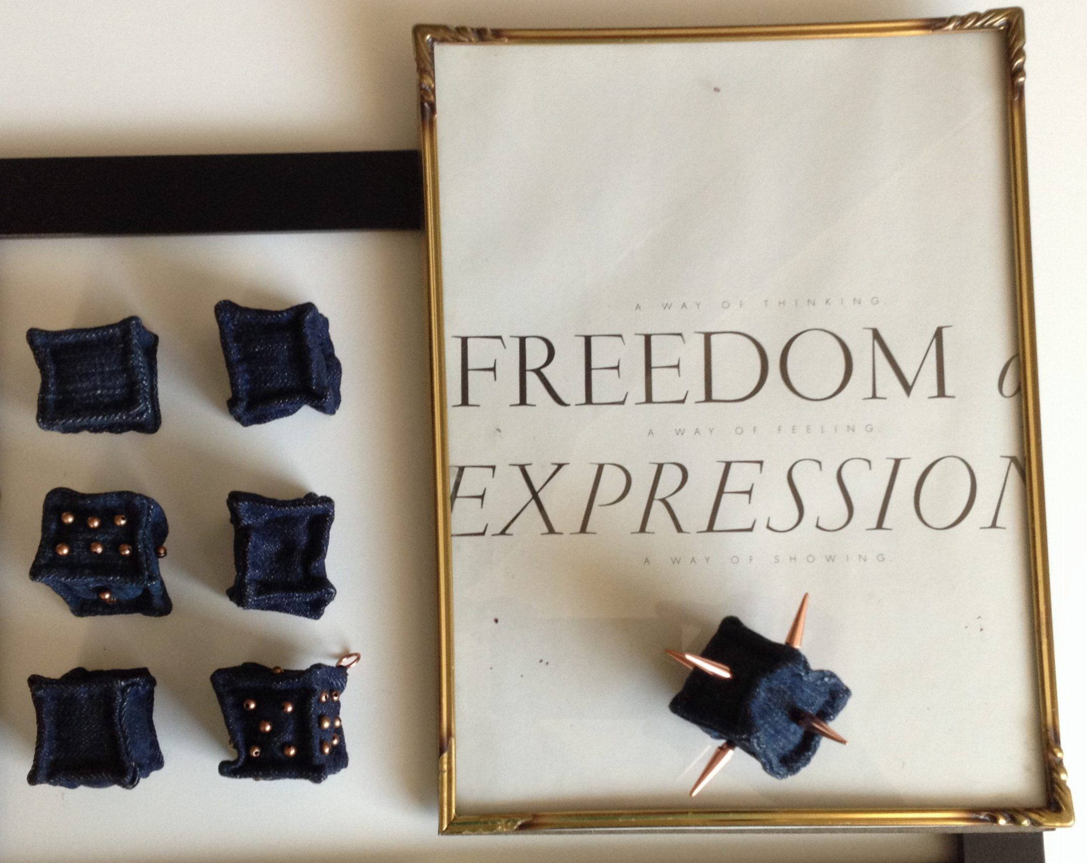 diy miniature denim cubes and vintage page from Vogue